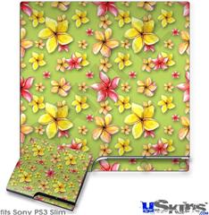 Sony PS3 Slim Decal Style Skin - Beach Flowers Sage Green