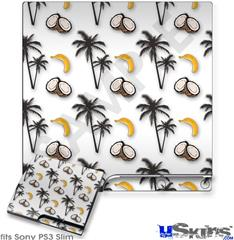Sony PS3 Slim Decal Style Skin - Coconuts Palm Trees and Bananas White