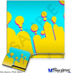 Sony PS3 Slim Decal Style Skin - Drip Yellow Teal Pink