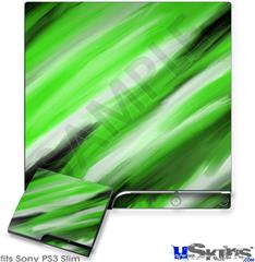 Sony PS3 Slim Decal Style Skin - Paint Blend Green