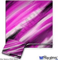 Sony PS3 Slim Decal Style Skin - Paint Blend Hot Pink