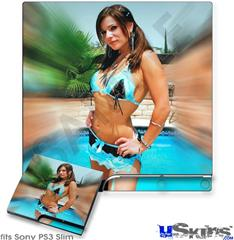 Sony PS3 Slim Skin - Lilly Ruiz - Blue Lace Bikini