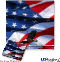 Sony PS3 Slim Skin - American USA Flag (Ole Glory) Centered Eagle