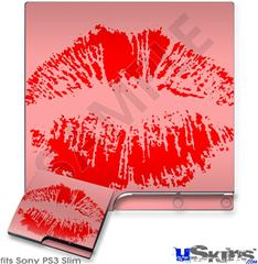 Sony PS3 Slim Skin - Big Kiss Red on Pink