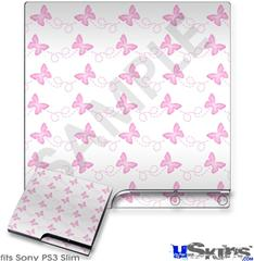 Sony PS3 Slim Skin - Pastel Butterflies Pink on White
