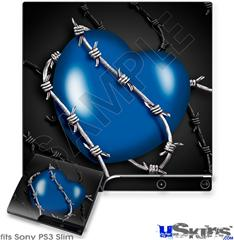 Sony PS3 Slim Skin - Barbwire Heart Blue