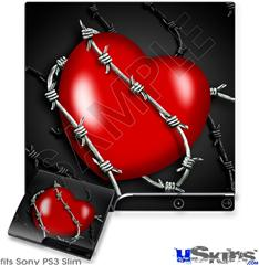 Sony PS3 Slim Skin - Barbwire Heart Red