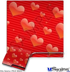 Sony PS3 Slim Skin - Glass Hearts Red