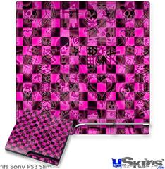 Sony PS3 Slim Skin - Pink Checkerboard Sketches