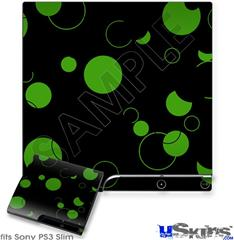 Sony PS3 Slim Skin - Lots of Dots Green on Black