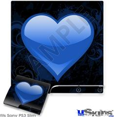 Sony PS3 Slim Skin - Glass Heart Grunge Blue