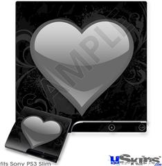 Sony PS3 Slim Skin - Glass Heart Grunge Gray