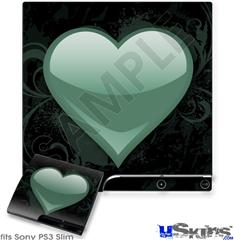 Sony PS3 Slim Skin - Glass Heart Grunge Seafoam Green