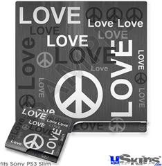 Sony PS3 Slim Skin - Love and Peace Gray