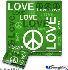 Sony PS3 Slim Skin - Love and Peace Green