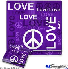 Sony PS3 Slim Skin - Love and Peace Purple