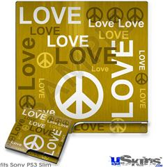 Sony PS3 Slim Skin - Love and Peace Yellow