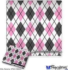 Sony PS3 Slim Skin - Argyle Pink and Gray