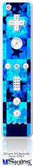 Wii Remote Controller Face ONLY Skin - Blue Star Checkers