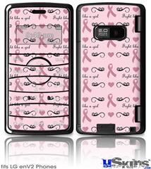 LG enV2 Skin - Fight Like A Girl Breast Cancer Ribbons and Hearts