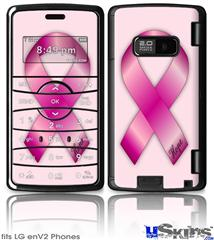 LG enV2 Skin - Hope Breast Cancer Pink Ribbon on Pink