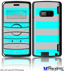 LG enV2 Skin - Psycho Stripes Neon Teal and Gray