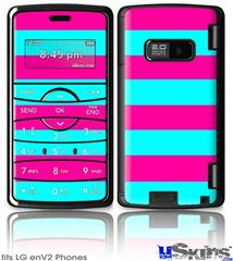 LG enV2 Skin - Psycho Stripes Neon Teal and Hot Pink