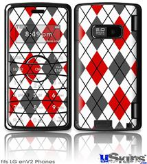 LG enV2 Skin - Argyle Red and Gray