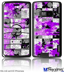 LG enV2 Skin - Purple Checker Skull Splatter