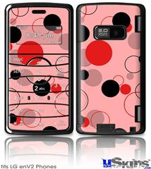 LG enV2 Skin - Lots of Dots Red on Pink