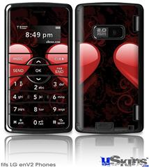 LG enV2 Skin - Glass Heart Grunge Red