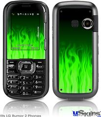 LG Rumor 2 Skin - Fire Flames Green