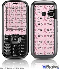 LG Rumor 2 Skin - Fight Like A Girl Breast Cancer Ribbons and Hearts