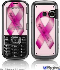 LG Rumor 2 Skin - Fight Like a Girl Breast Cancer Pink Ribbon on Pink