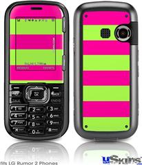 LG Rumor 2 Skin - Psycho Stripes Neon Green and Hot Pink