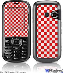 LG Rumor 2 Skin - Checkered Canvas Red and White