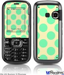 LG Rumor 2 Skin - Kearas Polka Dots Green On Cream