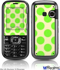LG Rumor 2 Skin - Kearas Polka Dots Lime On Cream