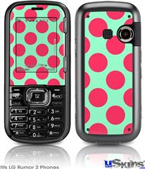 LG Rumor 2 Skin - Kearas Polka Dots Pink And Blue