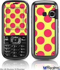 LG Rumor 2 Skin - Kearas Polka Dots Pink And Yellow