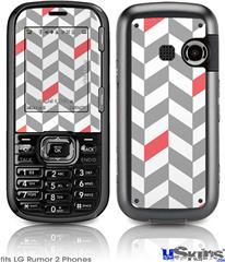 LG Rumor 2 Skin - Chevrons Gray And Coral