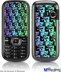 LG Rumor 2 Skin - Skull Checker Rainbow