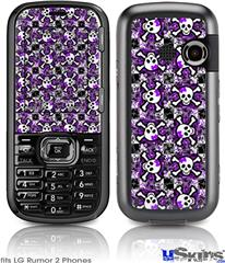 LG Rumor 2 Skin - Splatter Girly Skull Purple
