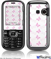 LG Rumor 2 Skin - Pastel Butterflies Pink on White