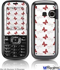 LG Rumor 2 Skin - Pastel Butterflies Red on White