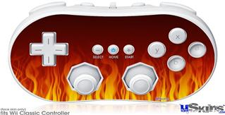Wii Classic Controller Skin - Fire Flames on Black