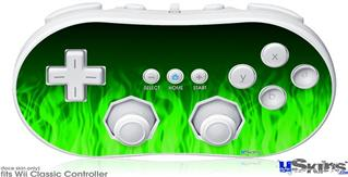 Wii Classic Controller Skin - Fire Flames Green