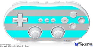 Wii Classic Controller Skin - Psycho Stripes Neon Teal and Gray