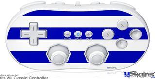 Wii Classic Controller Skin - Psycho Stripes Blue and White