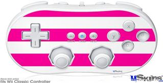 Wii Classic Controller Skin - Psycho Stripes Hot Pink and White